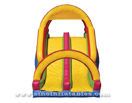 rainbow kids inflatable obstacle course with big slide