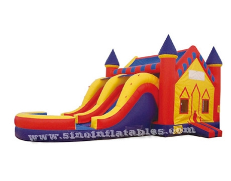 big inflatable combo with dry N wet slide