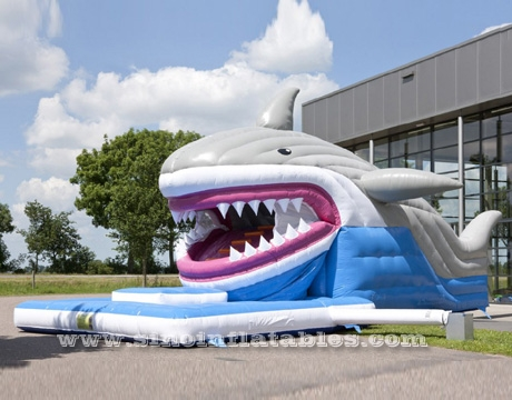 giant inflatable shark slide with mobile mouth
