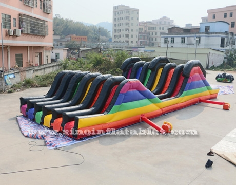 adults inflatable obstacle course with 2 hill slides