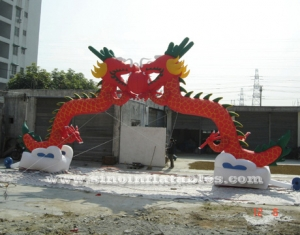 Arco inflable comercial doble dragones