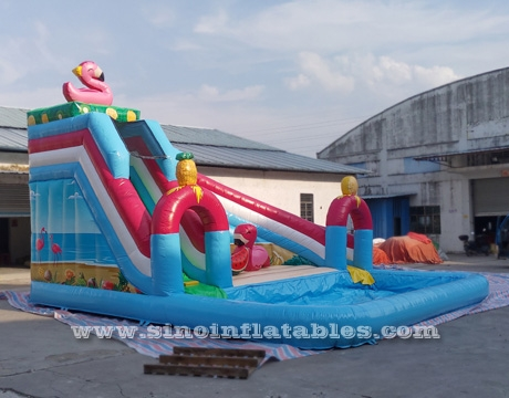big flamingo lake kids inflatable pool slide with big pool