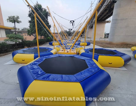 adults inflatable bungee trampoline with harness and control machine